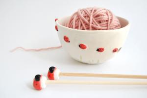 Ceramic Ladybugs Yarn Bowl