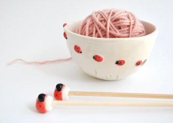 Ceramic Ladybugs Yarn Bowl