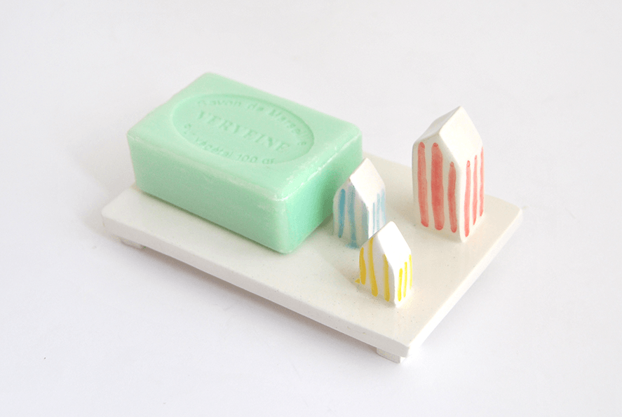Soap Dish with Multicolor Striped Houses