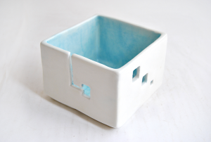 Blue Cube Yarn Bowl
