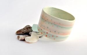 Pulsera Ceramica Rayas Verdes y Rosas