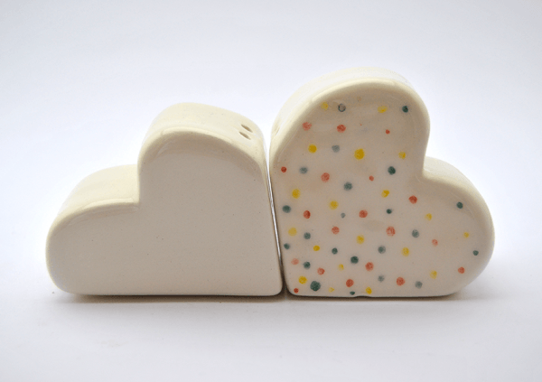 Clouds Salt and Pepper Shakers with Polka Dots