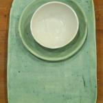 Set de Bandeja, Plato y Cuenco con esmalte verde satinado