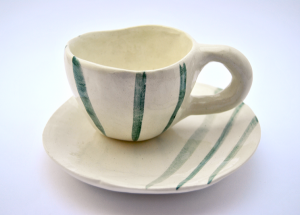 Green Stripes Rustic Handmade Coffe or Tea Cup