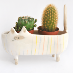 Striped Siamese Cat Planter