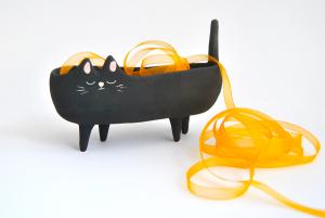 Macetero Gato Negro Halloween Textura Rústica