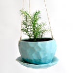 Hanging Blue Faceted Planter