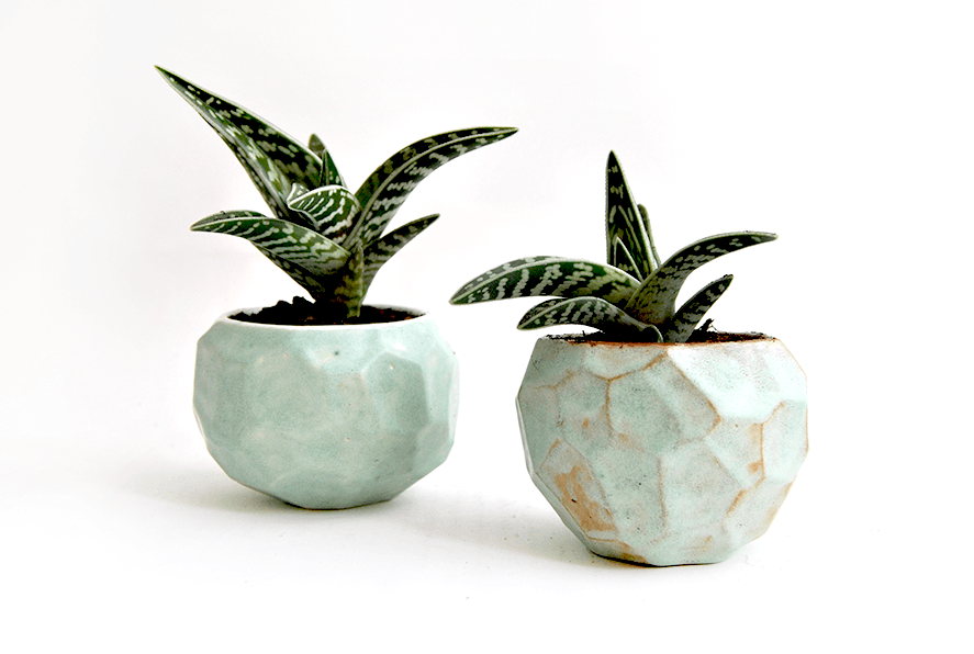 Grren Faceted Planters in Red Clay