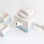 Set Tetera Japonesa Cubo Azul y Tazas Cubo