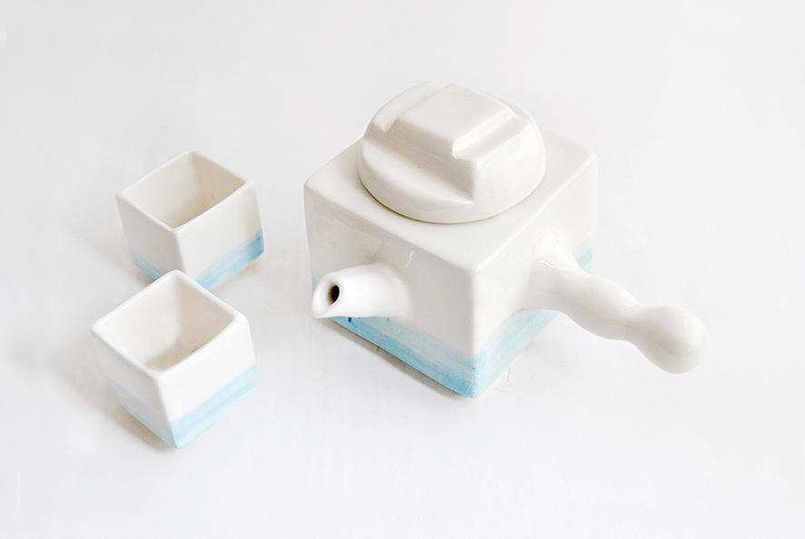 Cube Japanese Tea Set in Blue