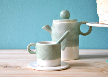 Coffe Set with Green Glaze