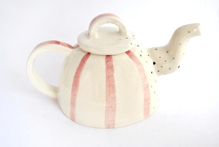 Rounded Teapot with Red Stripes