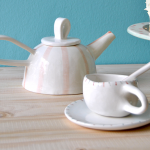 Rounded Striped Teapot and Rustic Tea Cup