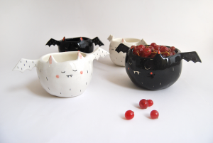 Halloween Vampire Bowls in White and Black