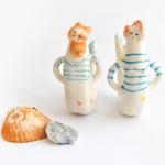 Pareja de Miniaturas de Sirena y Tritón