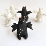 Halloween Fat Bat Miniatures in White and Black