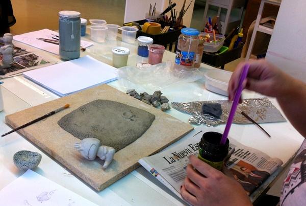 Alumna trabajando el tercer día del taller