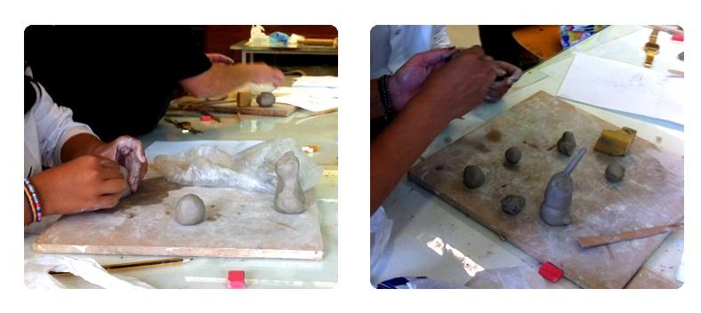 Detalle del trabajo realizado el primer día del taller