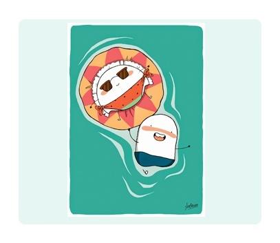 Croqueta y Empanadilla en el mar