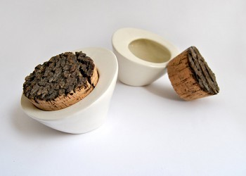 White Ceramic Salt Box With Cork Stopper