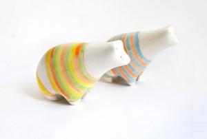 Summer Polar Bear Figures with Stripes