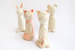 Figuras Ceramica Niños Disfraces Animales