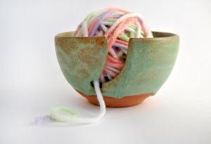 Green Ceramic Yarn Bowl Red Clay
