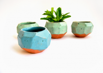 Faceted Planters Green and Blue