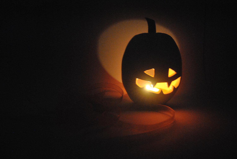 Ceramic Pumpkin Candleholder. Halloween