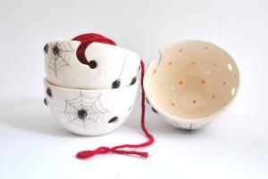 Ceramic Spiders Halloween Yarn Bowl