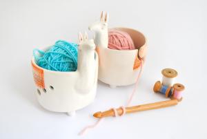Ceramic Llama Yarn Bowl, Knitting Bowl
