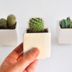 Set of Three White Cube Planters