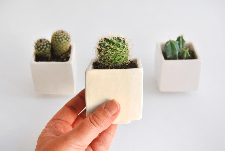 Set of Three White Cube Planters