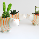 Striped Polar Bear Planter